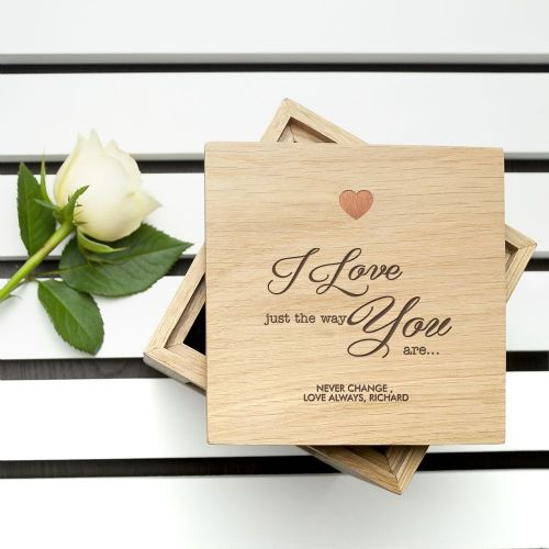 Engraved Just The Way You Are Oak Photo Cube